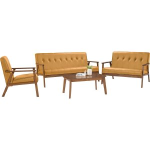 TRITON solid wood sofa set with coffee table -orange