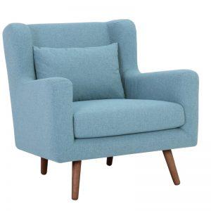 Safari Single Seater Sofa - Cocoa + Aquamarine