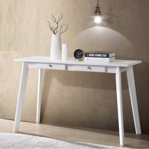 EVA 4 Feet solid wood console table/ study desk with 2 drawers-white
