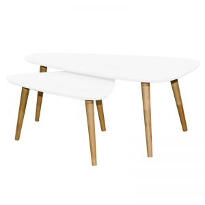 ARCHI Scandinavian solid wood triangle nesting table-white