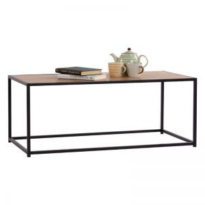 Bradford Industrial metal frame coffee table with oak veneer