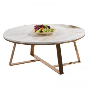 JT-B-12 Real marble coffee table with rose gold chrome legs