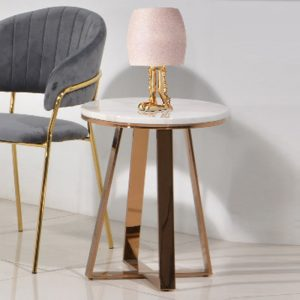 JT-B-12S Real marble side table with rose gold chrome legs