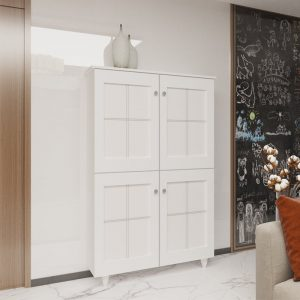 [CLEARANCE] KRISTY 4 door high shoe cabinet with PVC door panel
