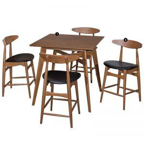 "LATIN 4 seater 24"" bar dining set-walnut"