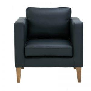 Catera Single Seater Sofa - Smoke Oak + Onyx