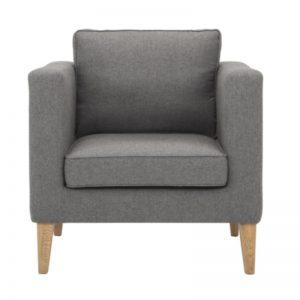 Catera Single Seater Sofa - Smoke Oak + Grey