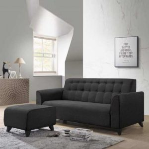 RICO 3 seater fabric sofa with stool