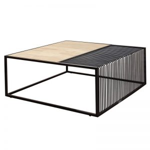 MADRID industrial metal frame coffee table-Natural