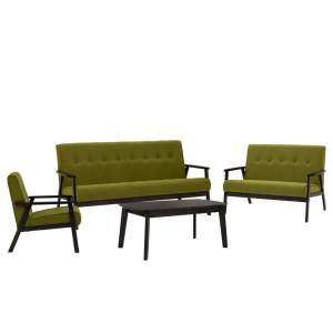 TRITON solid wood sofa set with coffee table -green