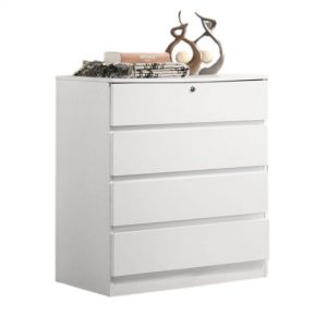 BRENDA 4 drawer chest with key lock- white