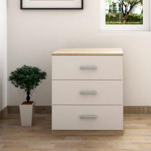 MEMPHIS 3 drawer chest drawer- White+oak