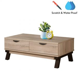 VENIECE 2 drawers scratch and waterproof coffee table