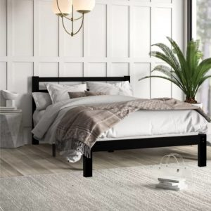 MINA solid wood queen size bed frame-cappucino