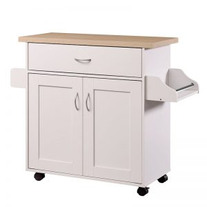Carol wooden kitchen cart trolley with towel rack