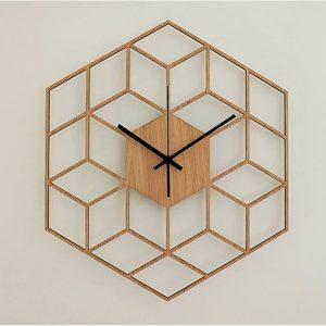 wooden geometric wall clock