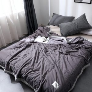 Luxury quilted mink weighted blanket-dark grey