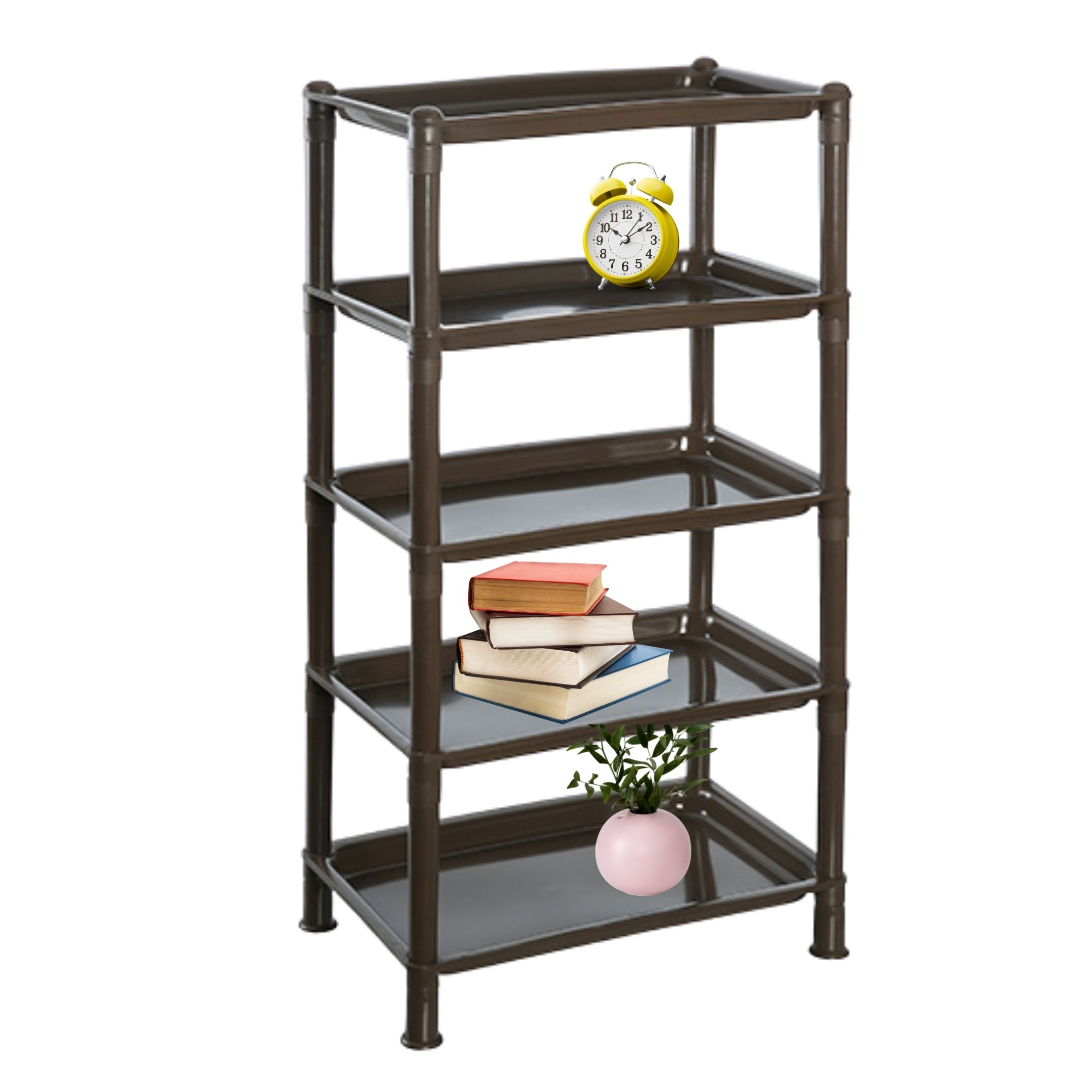 513 5 tier plastic storage rack black