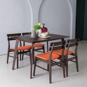 AUGUSTUS solid wood 4 seater dining set- Orange