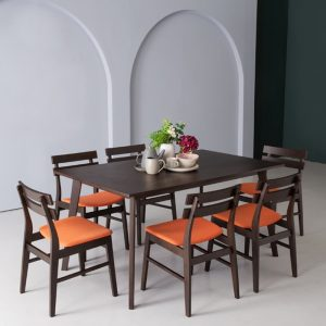 AUGUSTUS solid wood 6 seater dining set- orange