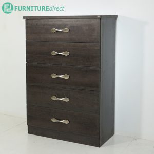 YERA premium grade jumbo size 5 drawer chest-charcoal oak