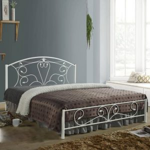 Samanta Queen size metal bed frame-white