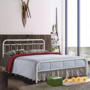 Kaiden Queen size metal bed frame-white