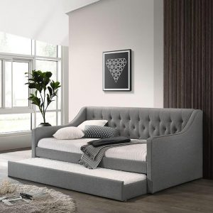 HALEY single size fabric daybed with trundle