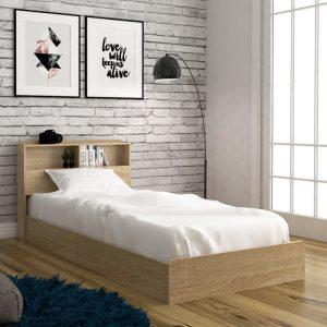 LANNA single size storage bed frame-oak