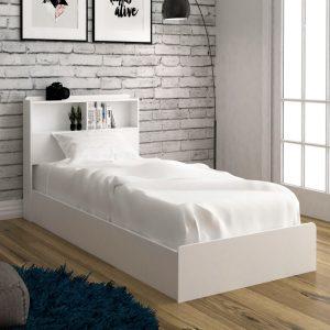 LANNA single size storage bed frame-white