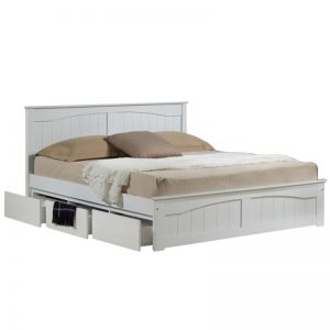 LT1546 solid wooden king size bed frame with 3 drawers