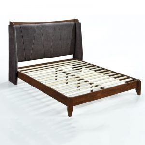 NAVY solid wood queen size bed frame-Dark Grey