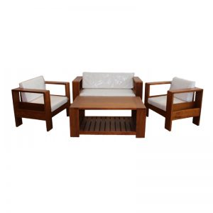 MRCHR517 & MRCFT202 Solid Teak Wood Sofa Set Walnut