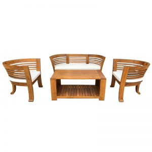 MRCHR 129 & MRCFT 202 Solid Teak Wood Sofa Set Oak