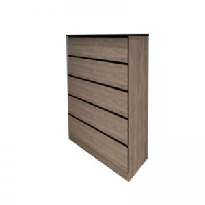 CD-B804 MDF + Solid RubberWood Chest Of Drawer Teak