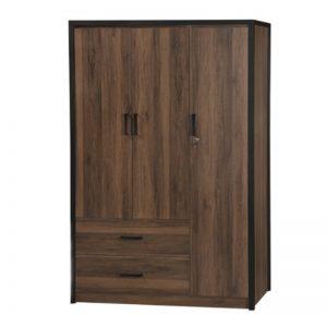WD-B403 Chipboard 3 Doors Wardrobe Brown Oak