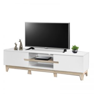 HC-B6371 Chipboard 5.2FT TV Cabinet White With Walnut