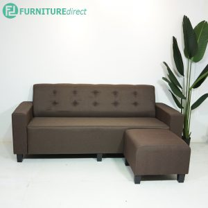 ALICE L shaped 3 seater sofa with stool-brown