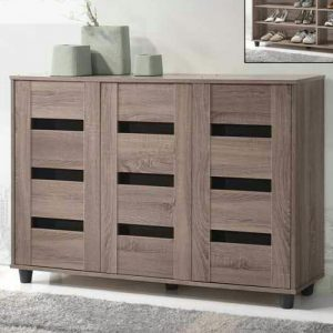 ERICA 3 Door Shoe Cabinet- Grey Oak