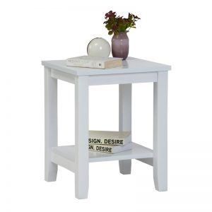 ELINA 40x40cm solid wood side table-white