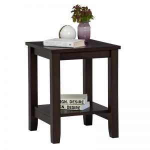 ELINA 40x40cm solid wood side table-Capuccino