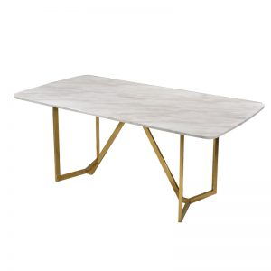 JT-DT-21 18mm thk. Artificial marble top with titanium gold stainless steel frame Dining Table White marble+Gold frame