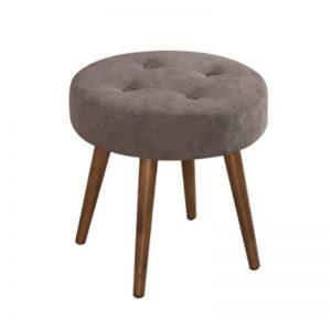 ST-9143(G) Fabric Dining Stool Chair Dark Walnut
