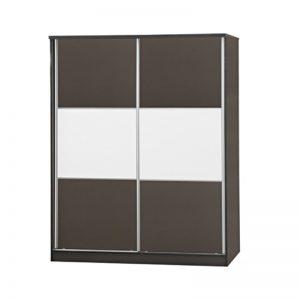 WD-6076 Chipboard 5Ft 2 Sliding Doors Wardrobe Grey / Wenge