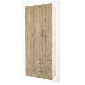 WD-C201 Chipboard 2.6Ft 3 Open Doors Wardrobe Vintage Oak