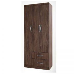 WD-C201 Chipboard 2.6Ft 3 Open Doors Wardrobe Walnut