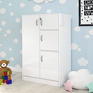 BARRY 4 Door children wardrobe with key lock-White