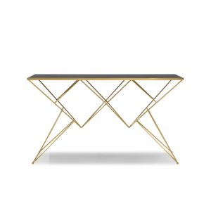 JT-DT-27 Temp-glass top with titanium gold stainless steel frame CONSOLE TABLE Black glass+Gold