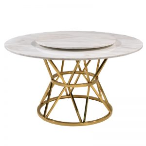 JT-DT-31 Artificial marble top with titanium gold stainless steel frame Dining Table White marble+Gold