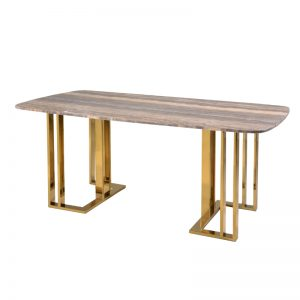 JT-DT-30 18mm thk. Artificial marble top with titanium gold stainless Dining Table AS SHOWN